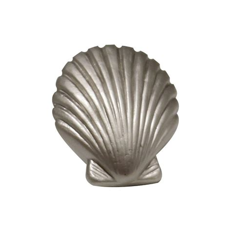 Seashell Drawer Knobs by Whitehaus Collection 1 3 8 In Satin Nickel Seashell