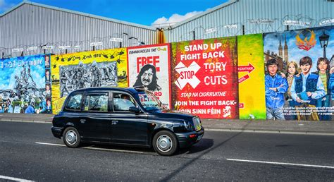 Farm Wall Murals from flickr black taxi cab at the peace wall belfast