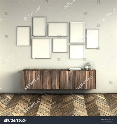 picture frame with light inside mock poster frames on light grey stock illustration