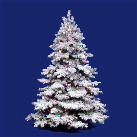 4 white tree with colored lights vickerman flocked alaskan 7 5 white artificial