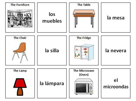 spanish word for sofa furniture spanish vocabulary card sort by