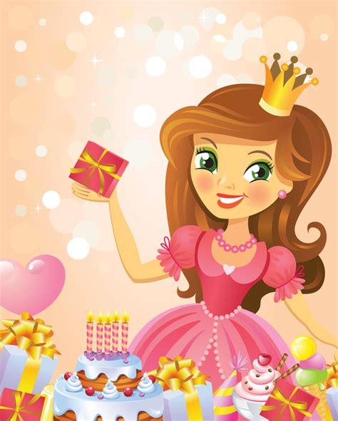 imagenes happy birthday princess cute princess with happy birthday backgroud vector 02