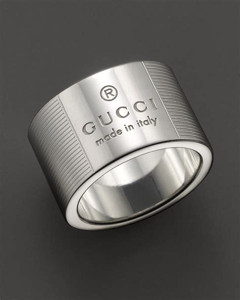 gucci gucci trademark stripes sterling silver ring