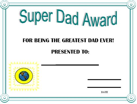 printable gift certificates for dad father s day certificates printable day award
