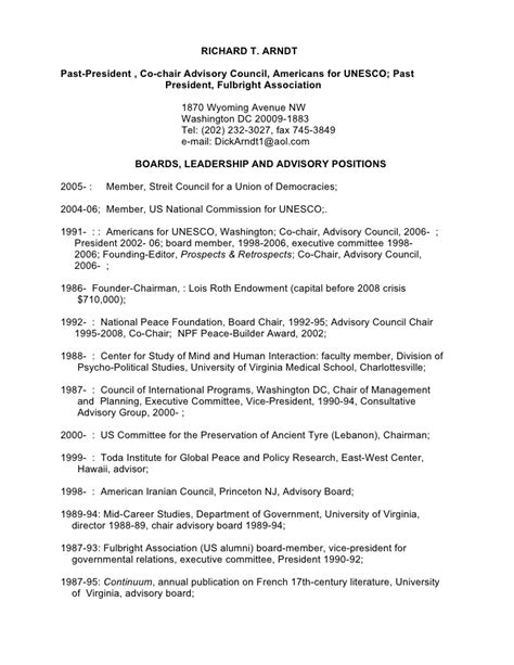format cv unesco richard arndt personal resume feb 2009