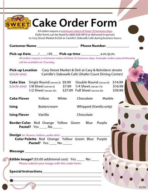 cake price list template order forms cake negocios order form cake