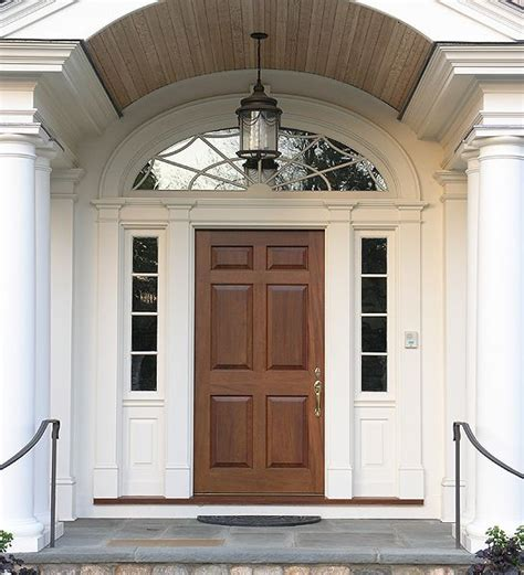 Mahogany Entrance With Custom Transom 6 Panel Door With Front Entry Doors With Sidelites