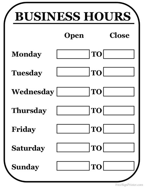 hours sign template free printable business hours sign