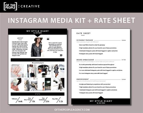 social media rate card template 2 page media kit rate sheet template for instagram