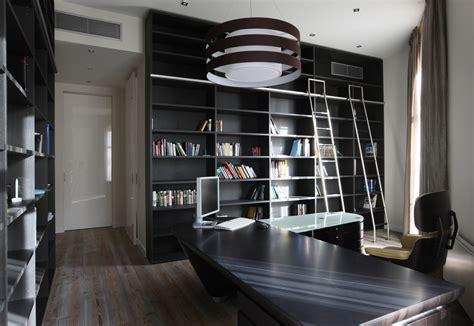 High Tech Home Office Design нескучный дизайн комнаты в сером цвете фон для яркого