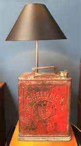 converted vintage shell petrol can table lamp in a nutshell