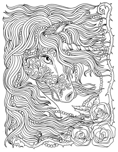 coloring pages of unicorns for adults unicorn and pearls fantasy coloring page adult coloring