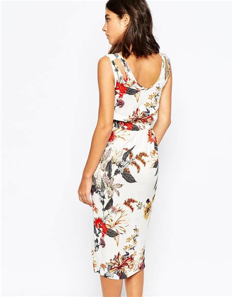 white patterned midi dress lyst warehouse floral printed midi dress in white
