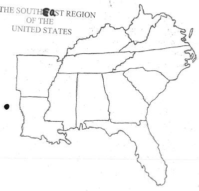 Southern United States Outline Map by States And Capitals Mr Donahue Mckelvie Intermediate School
