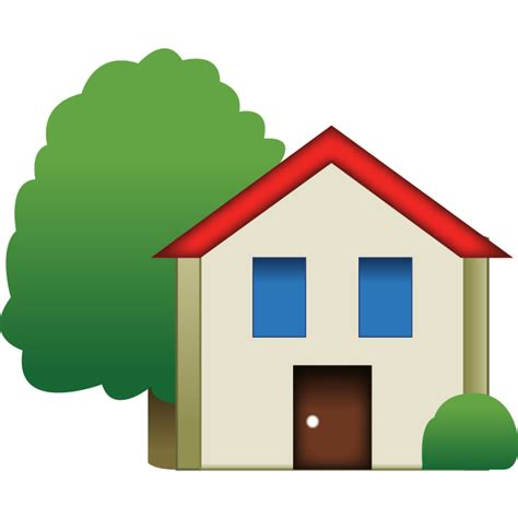 house emoji with tree emoji island
