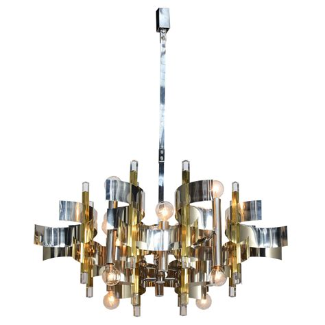 12 light brass chandelier twelve light chrome brass and lucite chandelier by