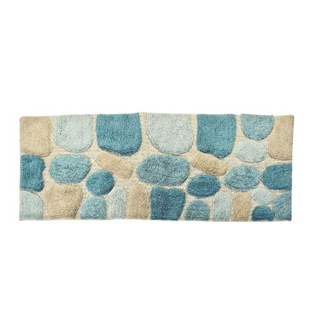 Bathroom Rug Runners Chesapeake Merchandising 24 In X 60 In Pebbles Bath Rug Runner In Aquamarine 45093 The Home