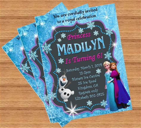 frozen birthday invitation with photo frozen invitation disney frozen birthday invitation