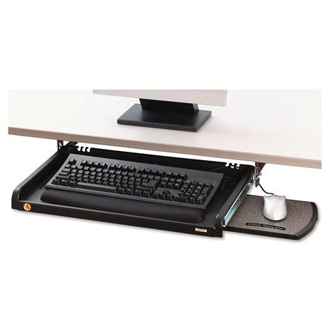 black desk with keyboard drawer under desk keyboard drawer by 3m mmmkd45 ontimesupplies