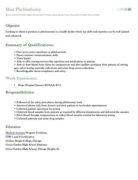 sle resume for phlebotomist phlebotomy resume templates 28 images sle phlebotomy