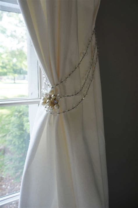 Tie Backs For Nursery Curtains Curtain Tie Back Vintage Pearls Sparkly Nursery Decor Room