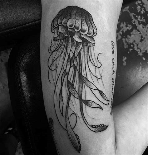 black and grey jellyfish tattoo 100 jellyfish tattoo designs for men free swimming