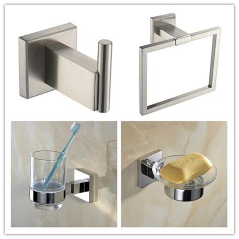 Stainless Steel Bathroom Accessories 304 Stainless Steel Square Modern Chrome Bathroom Wall Accessories Towel Ring Ebay