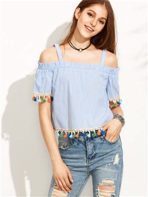 Hem Stripe Kemeja Stripe blue striped cold shoulder tassel hem blouse tassels blouses