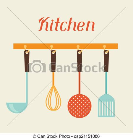 Vector of Kitchen and restaurant utensils spatula, whisk