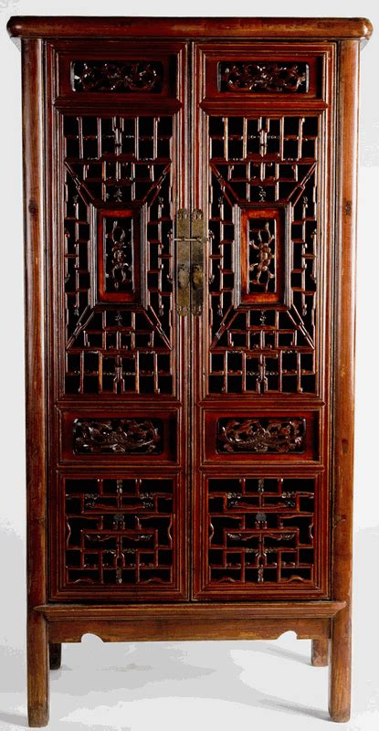 antique asian furniture cabinet  carved panels