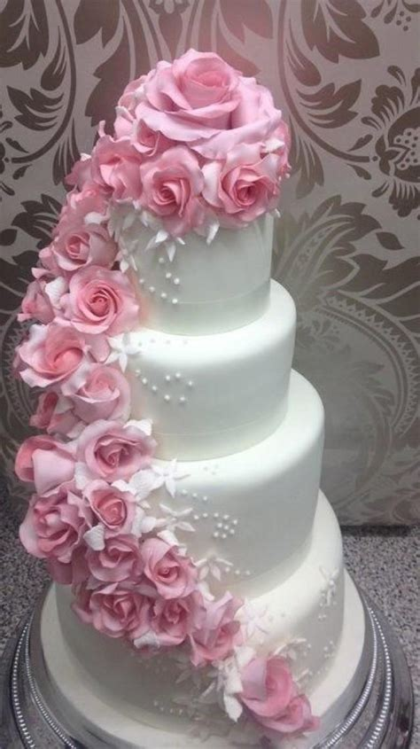 Hochzeitstorte Altrosa by Wedding Pink Cascading Wedding Cake 2064020