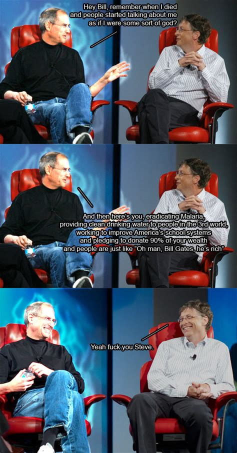 Bill Gates And Steve Jobs Meme - steve jobs bill gates on philanthropy steve jobs