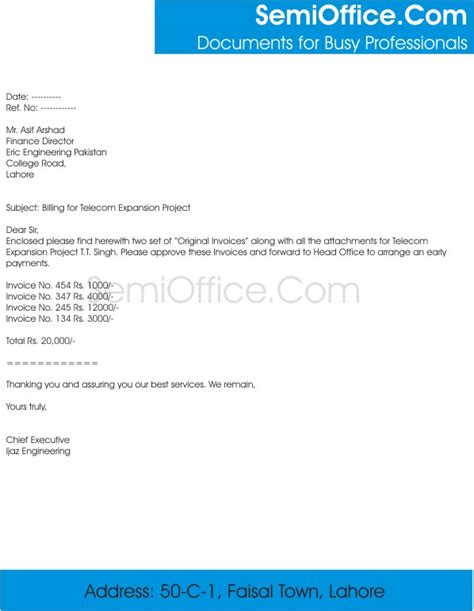 Invoice Forwarding Letter Billing Cover Letter Sle For Sending Bills