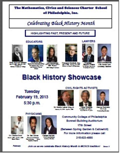 themes for black history month 2013 mcscs 2013 black history month program newsletter