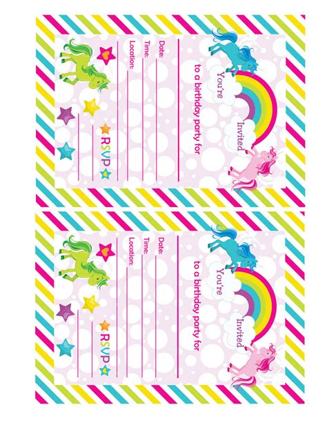 printable unicorn invitations fill in birthday party invitations printable rainbows and
