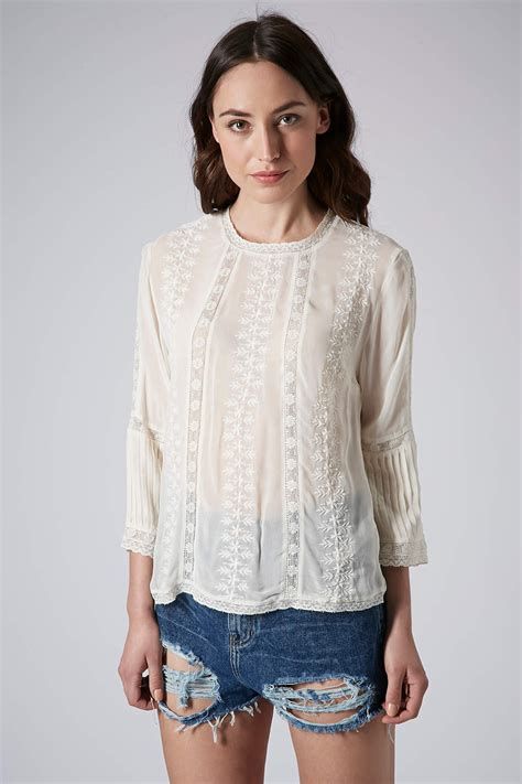 Embroided Blouse lyst topshop embroidered blouse in white
