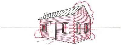 log cabin in the woods drawing