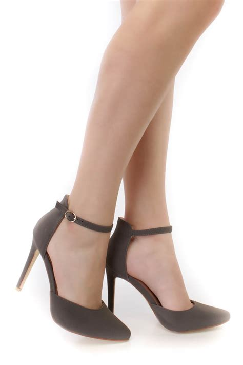 sole high heels grey pointy closed toe ankle single sole high heels