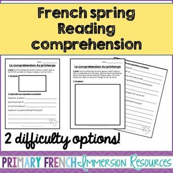 reading comprehension test in french french spring reading comprehension sheets the box