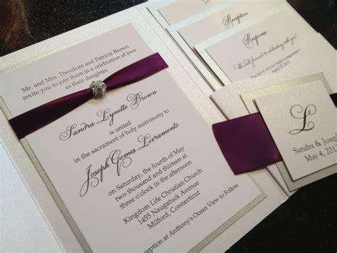 eggplant pocket wedding invitations glamourous pocket wedding invitation in eggplant and gold
