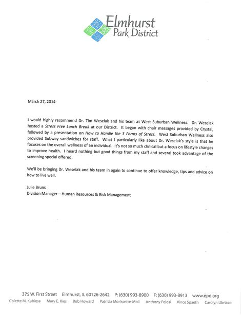 Letter Of Recommendation For Chiropractic College Letter Of Recommendation Elmhurst West Suburban Wellness