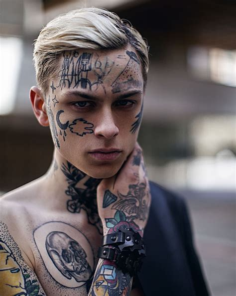 tattooed face cool for boy model laviedekirill