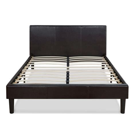 queen size modern platform bed with dark brown upholstered