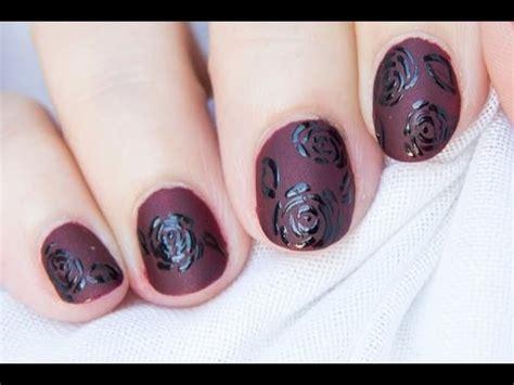 imagenes de uñas decoradas goticas dise 241 o de u 241 as g 243 tico mate rosas negras nail art