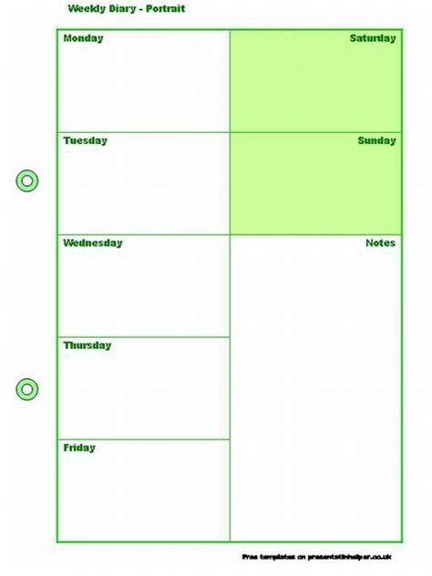 calendar journal template weekly diary template