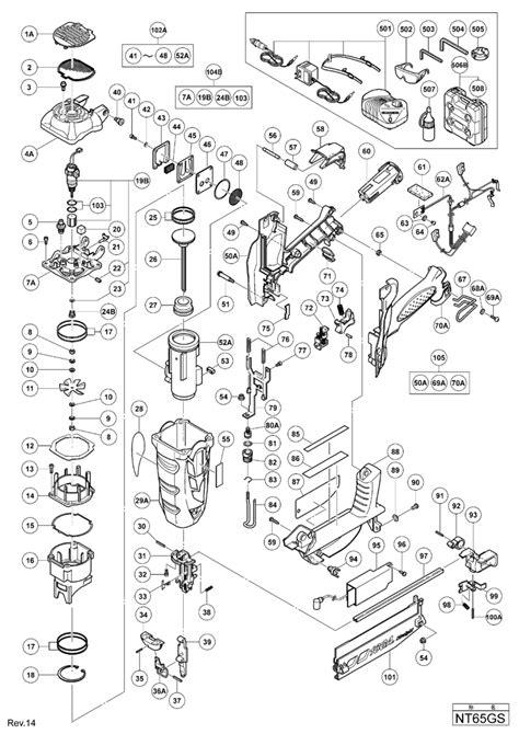 hitachi nail gun parts diagram hitachi nt65gs gas finish nailer spare parts tool