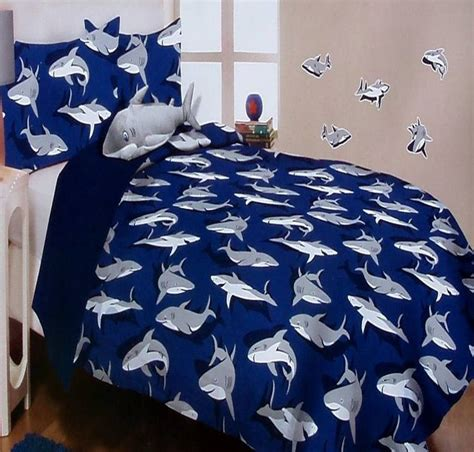 sleep with the sharks blue twin comforter sham pillow