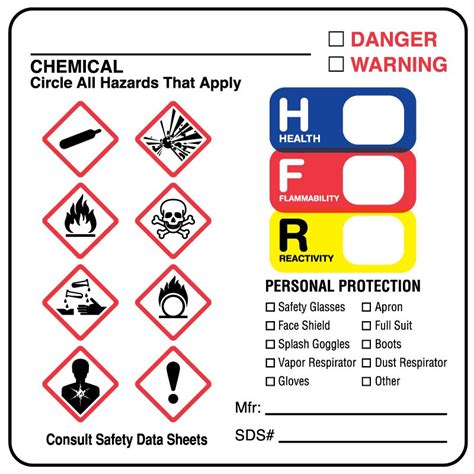 Ghs Hazard Label 2 1 2 Quot X 2 1 2 Quot United Ad Label Osha Secondary Container Label Template