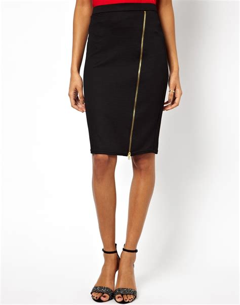 lipsy zip up pencil skirt in black lyst