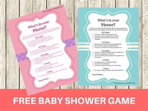 What S In Your Phone Baby Shower Free Printable